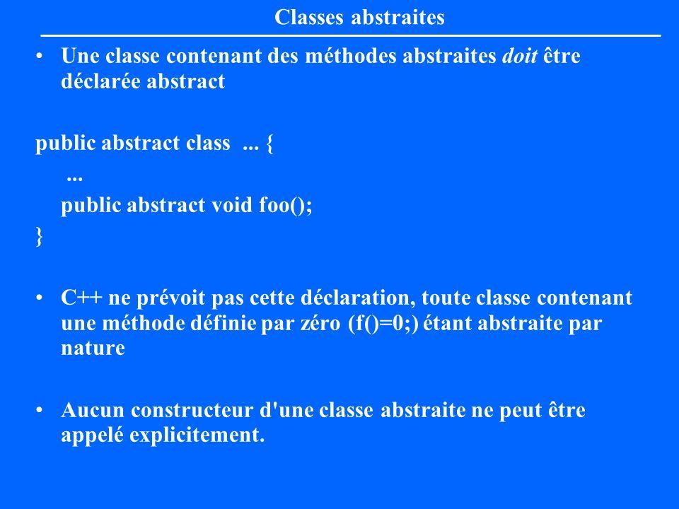 Classes abstraites Une classe contenant des méthodes abstraites doit être déclarée abstract. public abstract class ... {