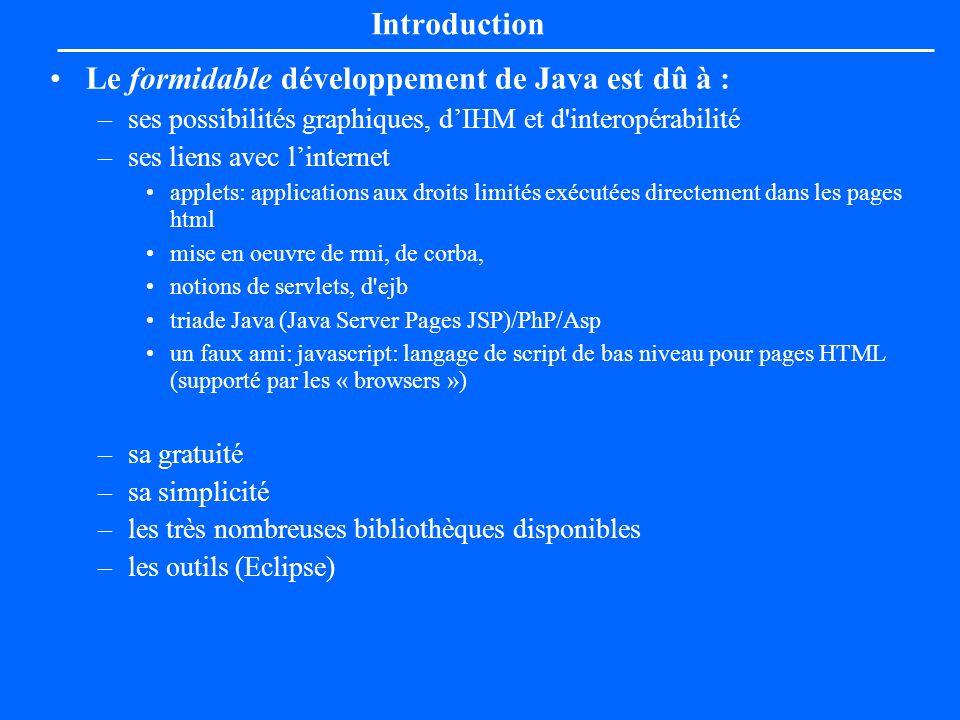 Le formidable développement de Java est dû à :