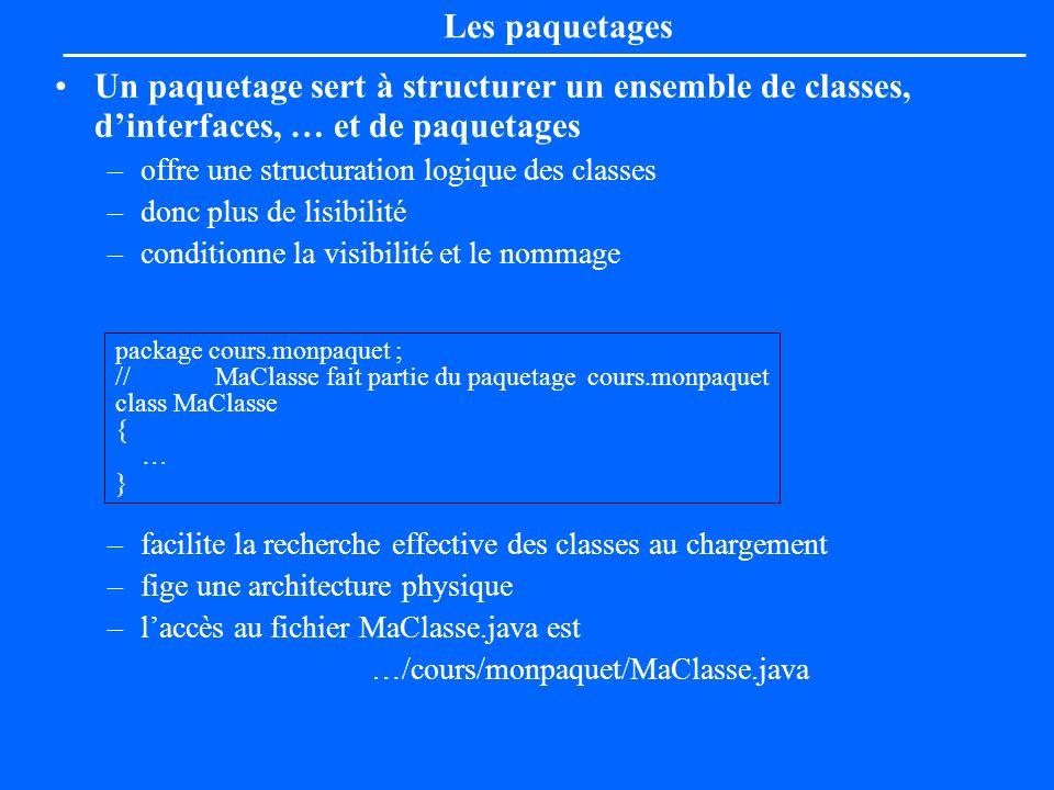 Les paquetagesUn paquetage sert à structurer un ensemble de classes, d'interfaces, … et de paquetages.