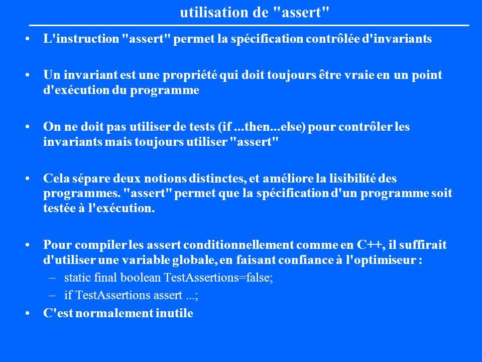 utilisation de assert L instruction assert permet la spécification contrôlée d invariants.