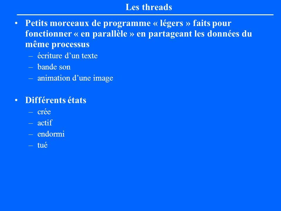 Les threadsPetits morceaux de programme « légers » faits pour fonctionner « en parallèle » en partageant les données du même processus.