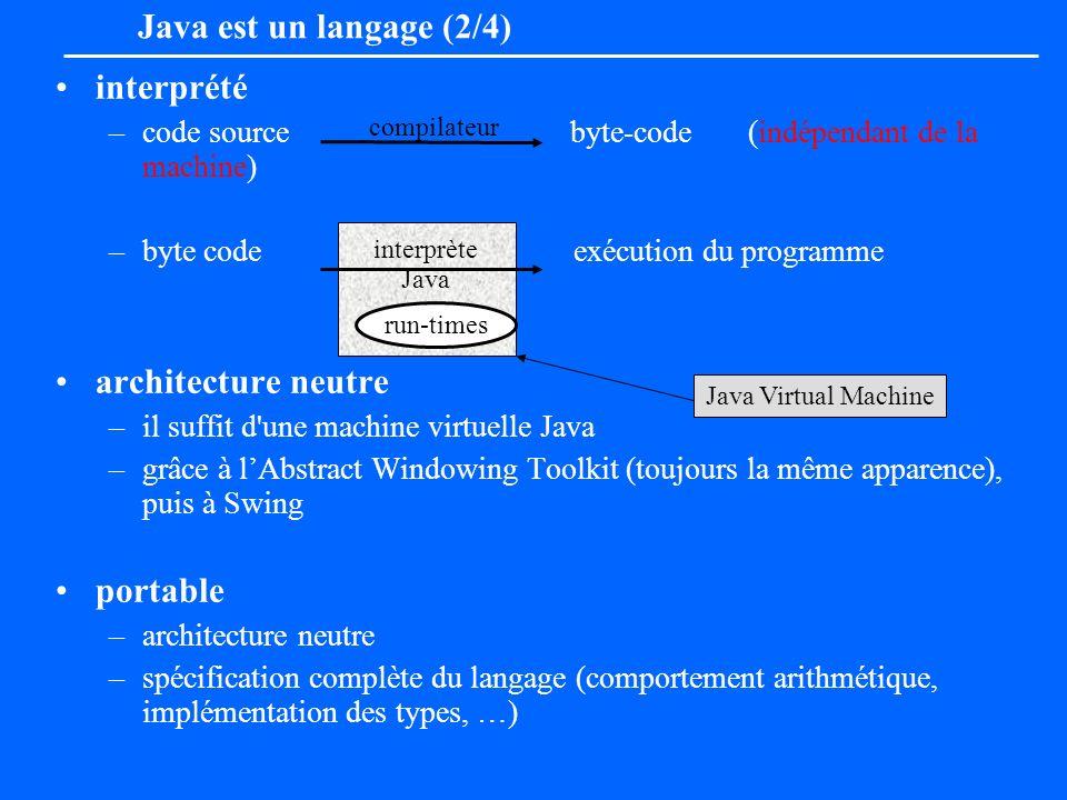 Java est un langage (2/4) interprété architecture neutre portable