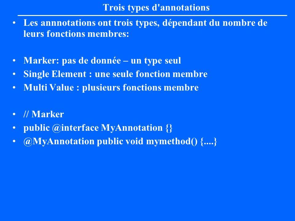 Trois types d annotations
