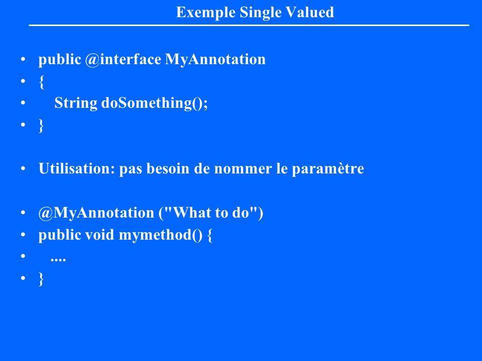 Exemple Single Valuedpublic @interface MyAnnotation. { String doSomething(); } Utilisation: pas besoin de nommer le paramètre.