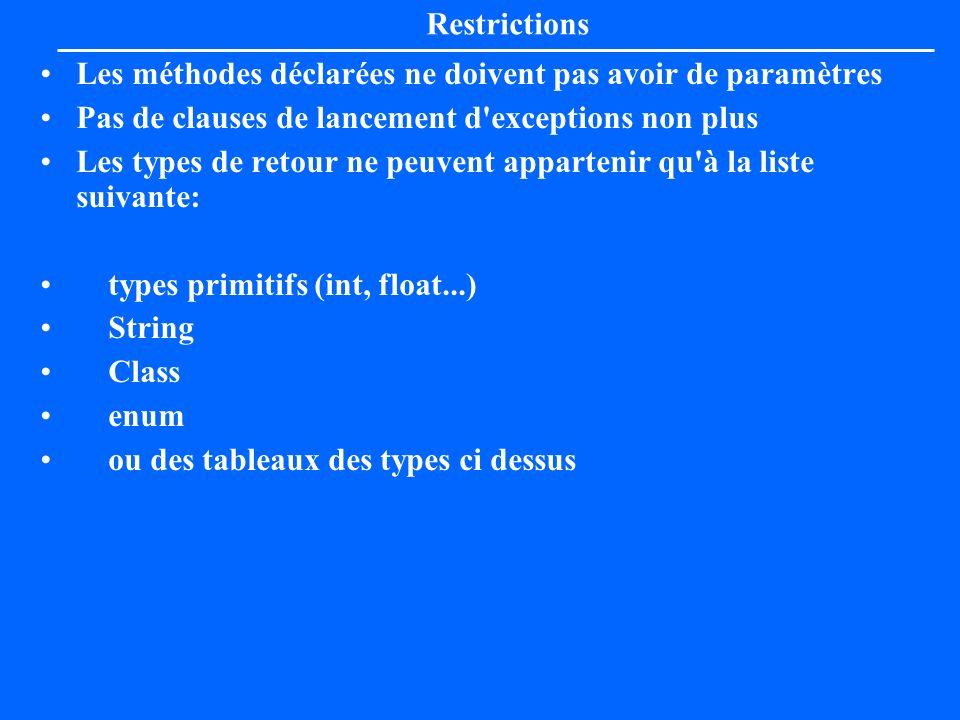 Restrictions Les méthodes déclarées ne doivent pas avoir de paramètres. Pas de clauses de lancement d exceptions non plus.