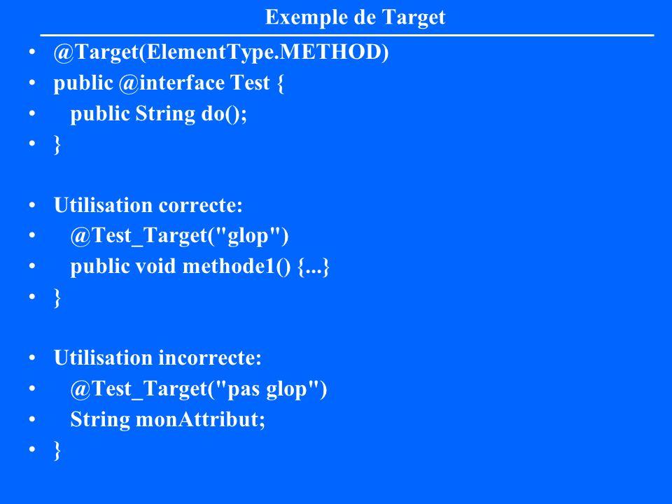 Exemple de Target@Target(ElementType.METHOD) public @interface Test { public String do(); } Utilisation correcte: