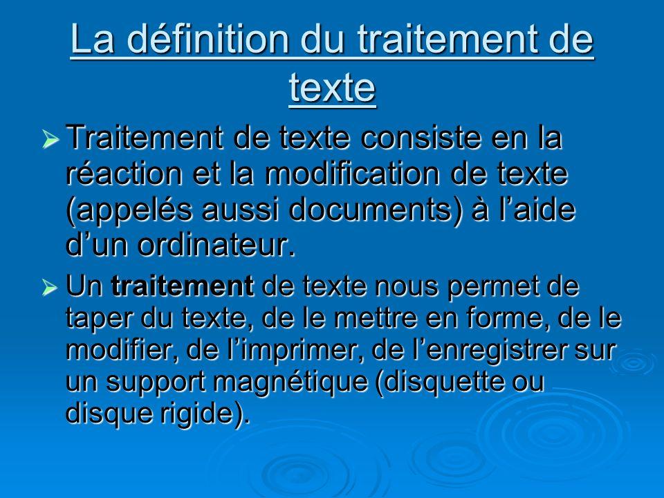 La définition du traitement de texte