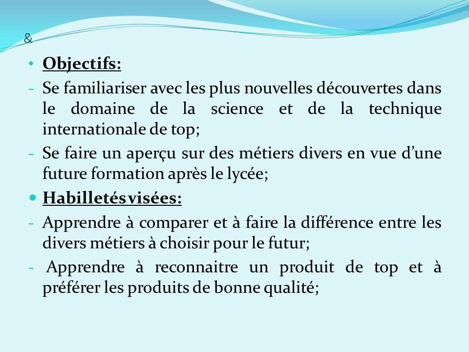 &Objectifs: Se familiariser avec les plus nouvelles découvertes dans le domaine de la science et de la technique internationale de top;