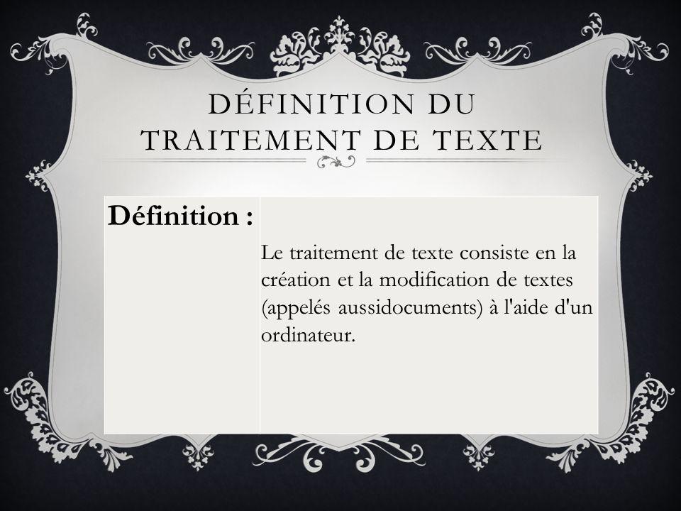Définition du traitement de texte