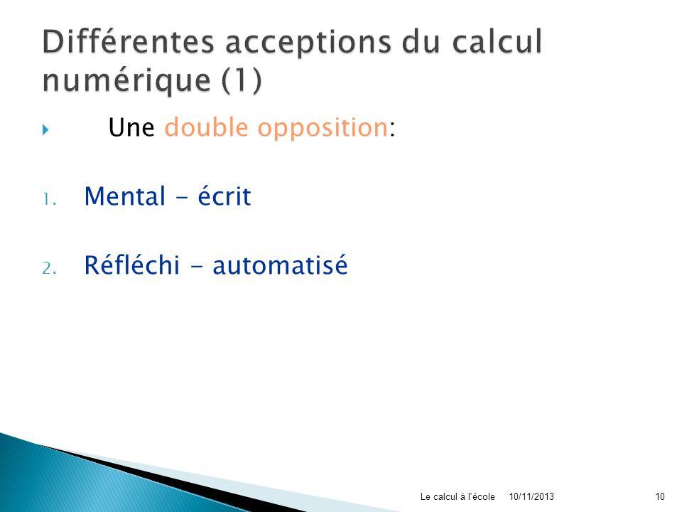 Différentes acceptions du calcul numérique (1)