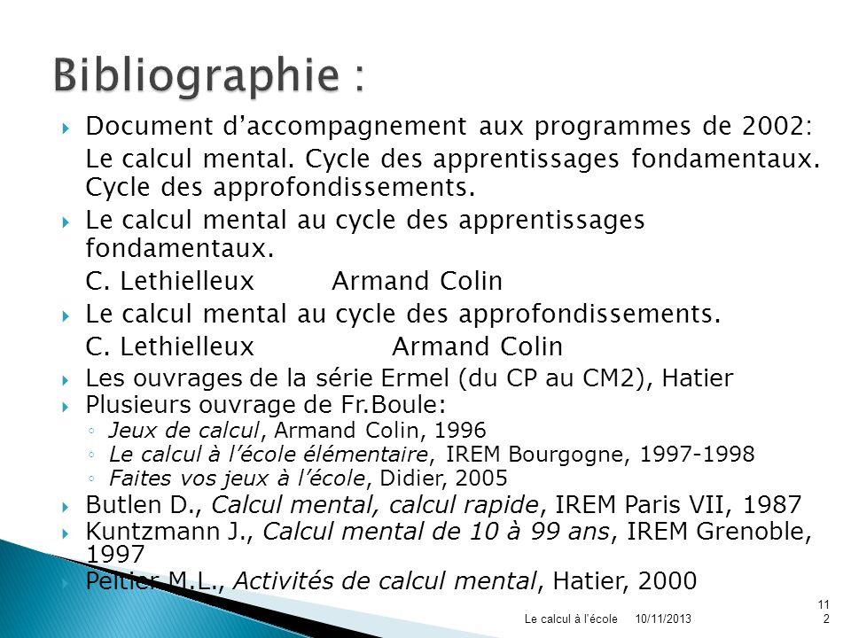 Bibliographie : Document d'accompagnement aux programmes de 2002: