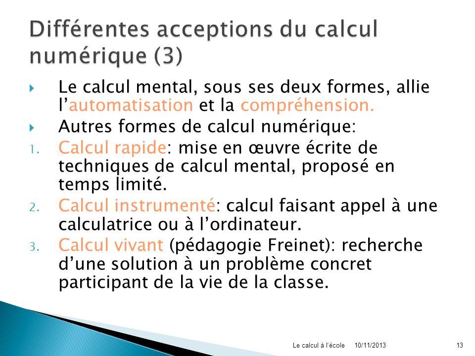 Différentes acceptions du calcul numérique (3)