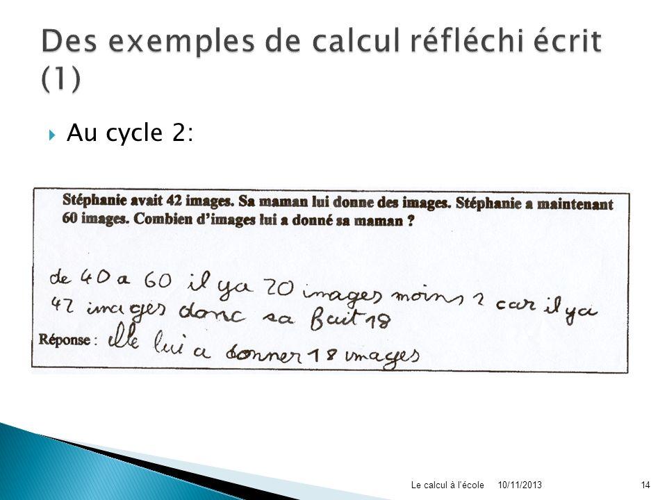 Des exemples de calcul réfléchi écrit (1)