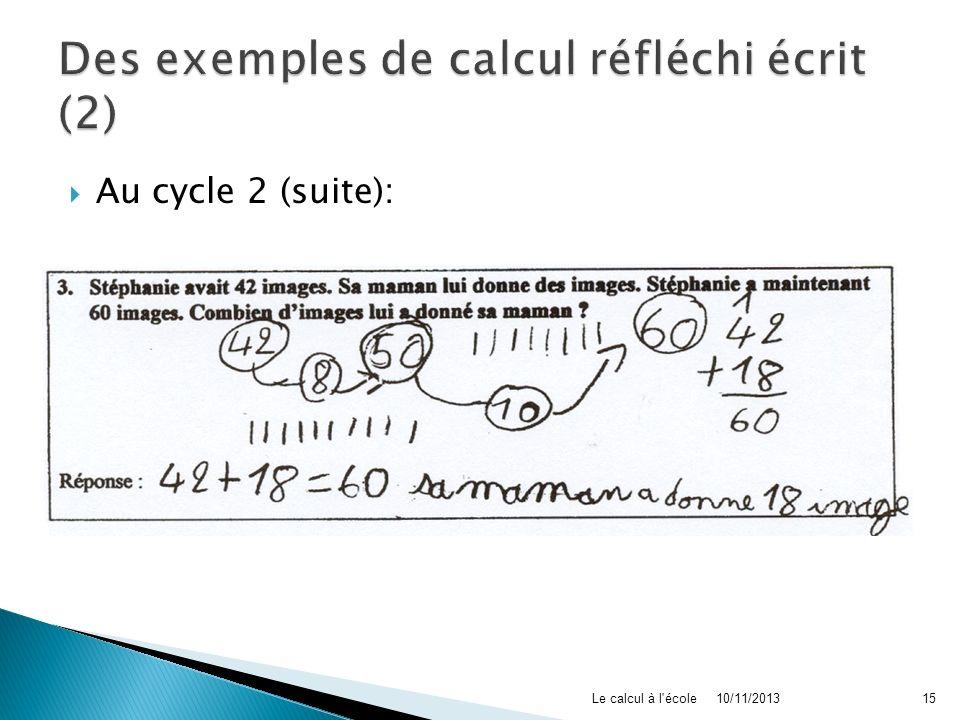 Des exemples de calcul réfléchi écrit (2)