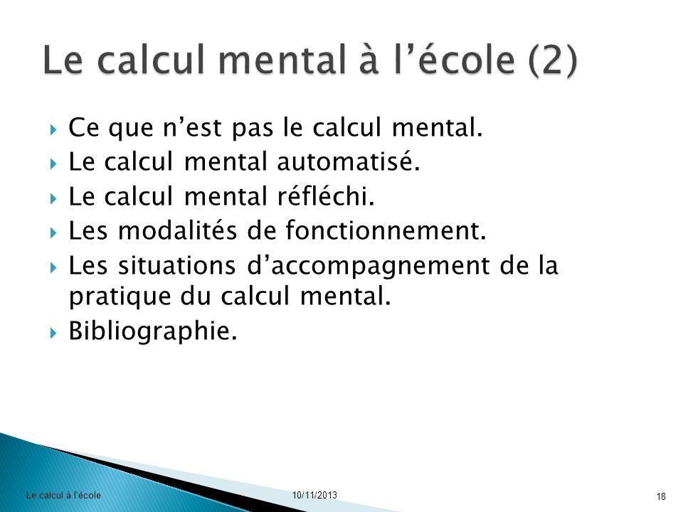 Le calcul mental à l'école (2)