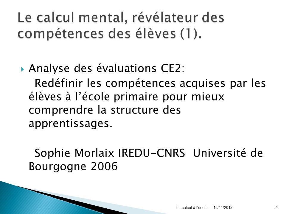 Le calcul mental, révélateur des compétences des élèves (1).
