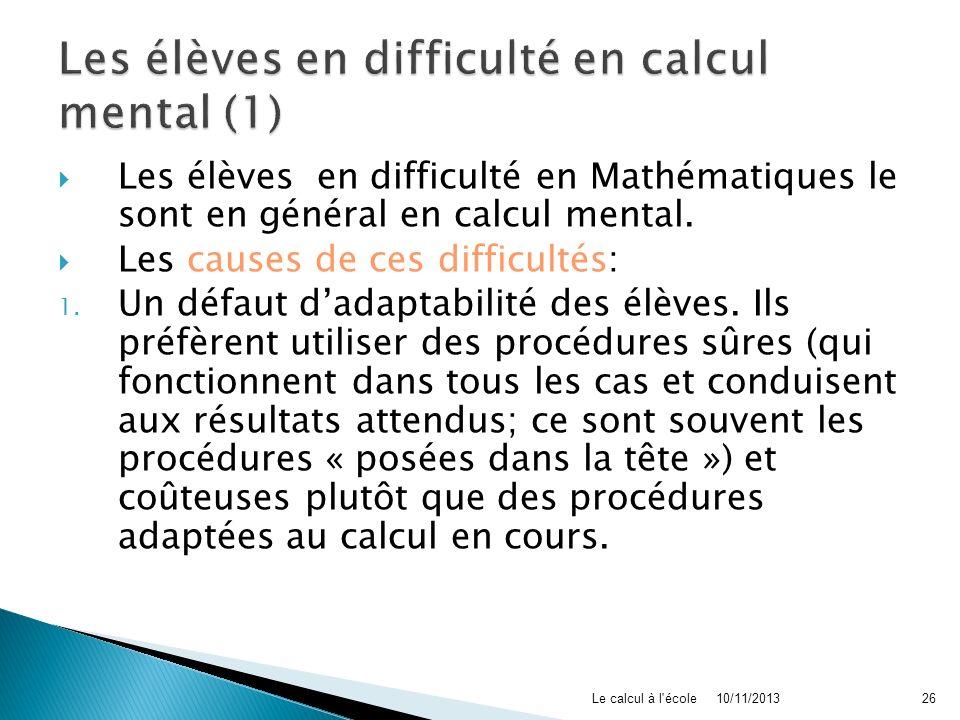 Les élèves en difficulté en calcul mental (1)