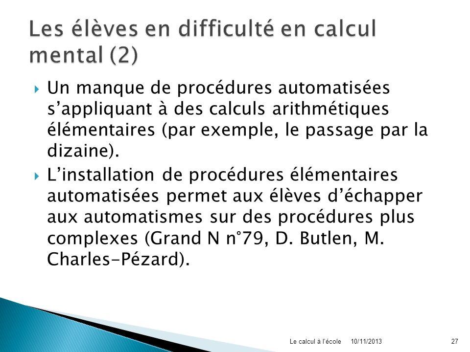 Les élèves en difficulté en calcul mental (2)