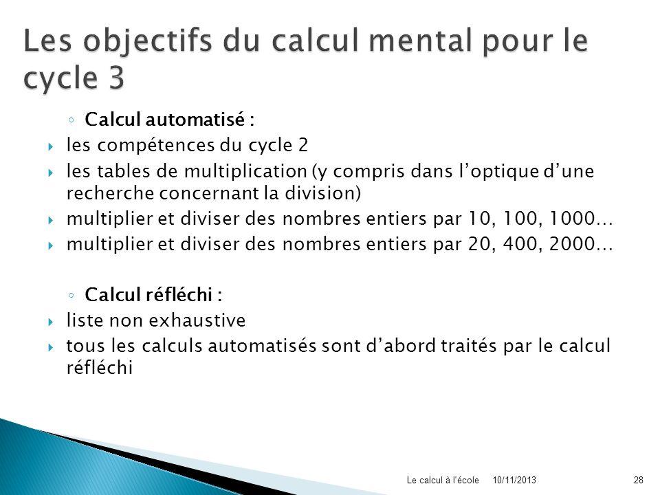 Les objectifs du calcul mental pour le cycle 3