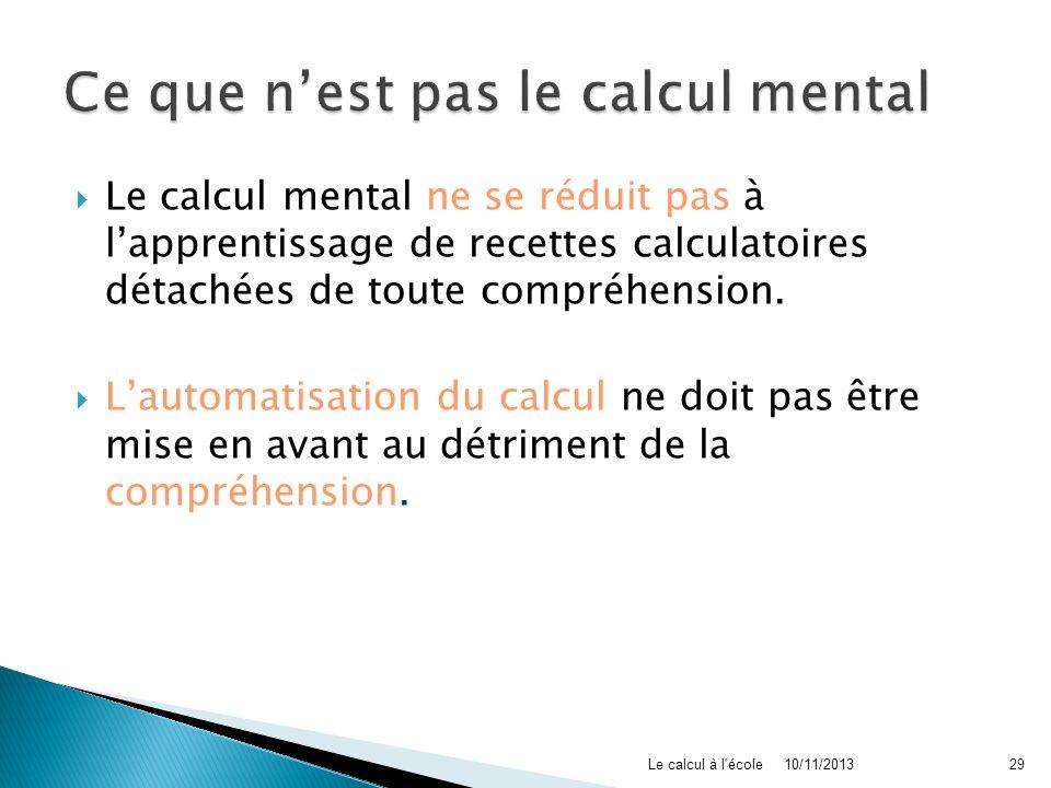 Ce que n'est pas le calcul mental