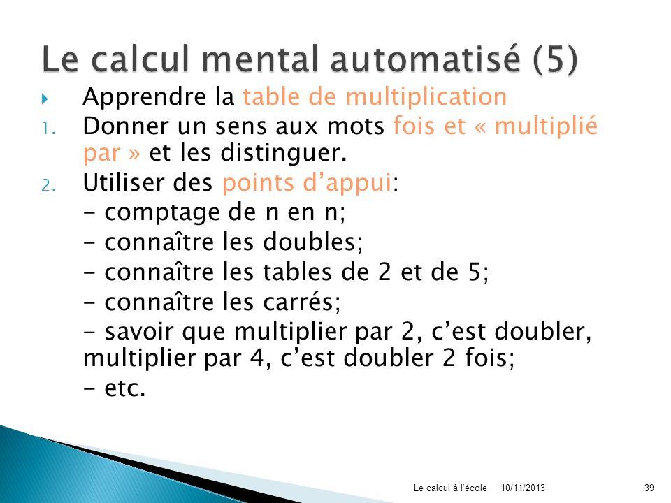 Le calcul mental automatisé (5)