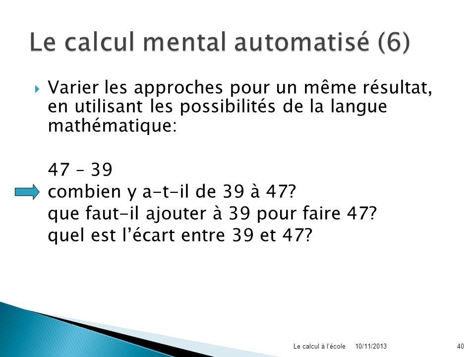 Le calcul mental automatisé (6)