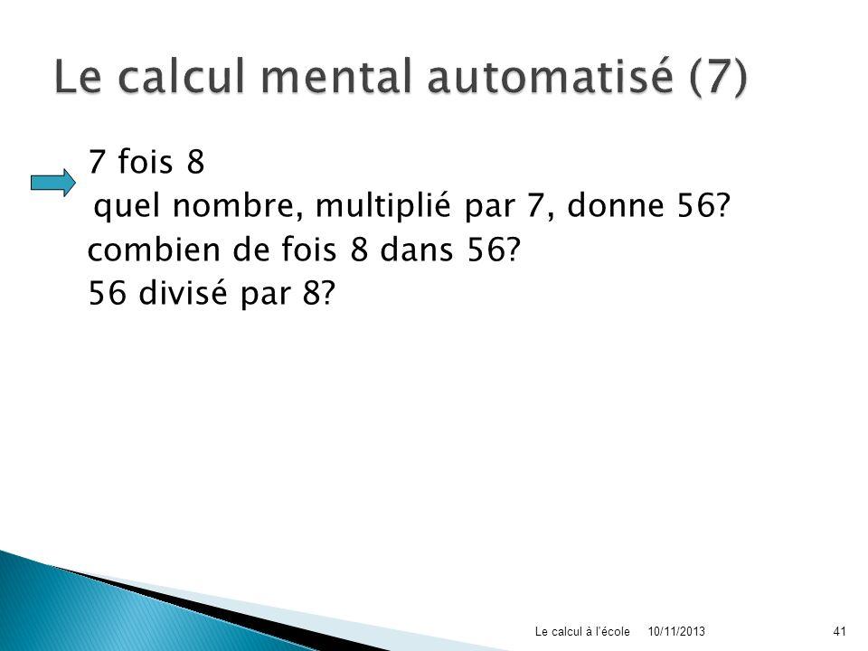 Le calcul mental automatisé (7)