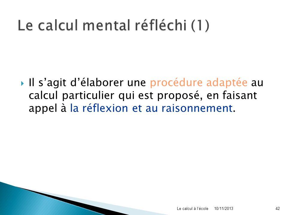 Le calcul mental réfléchi (1)