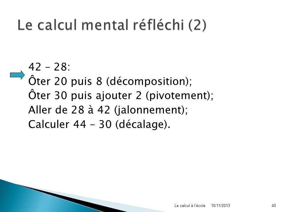 Le calcul mental réfléchi (2)