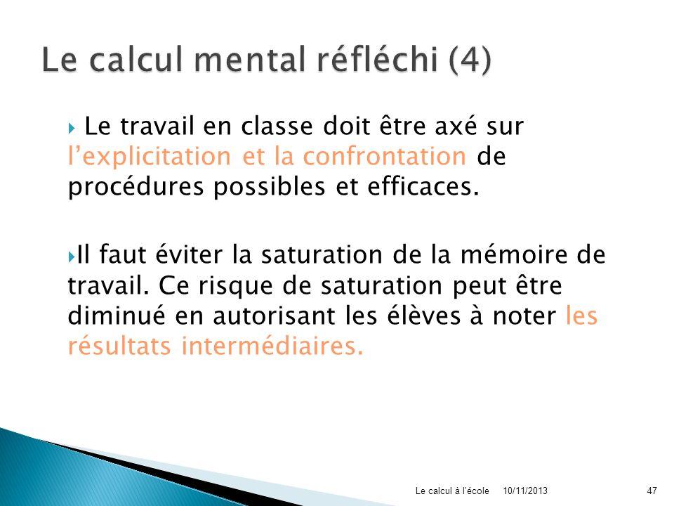 Le calcul mental réfléchi (4)