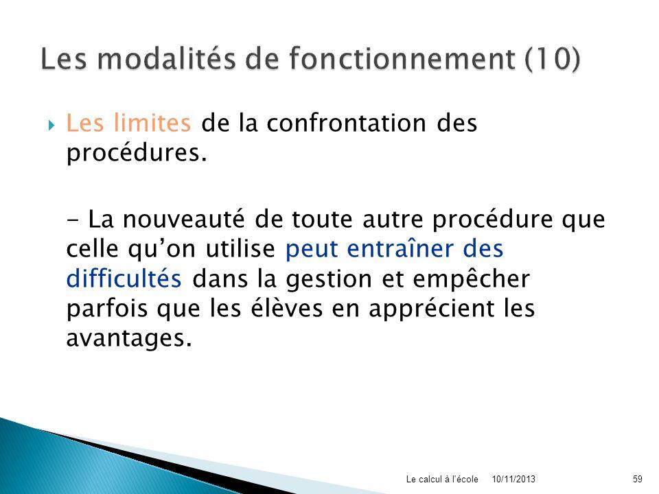 Les modalités de fonctionnement (10)