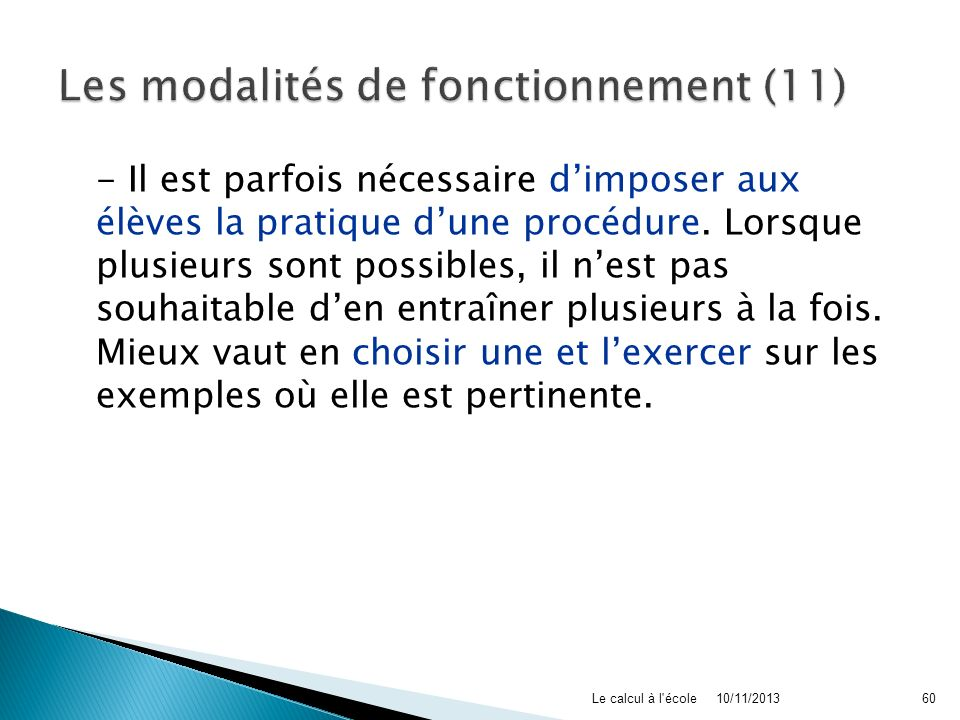 Les modalités de fonctionnement (11)