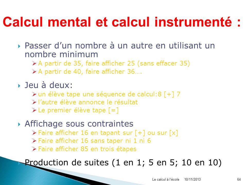 Calcul mental et calcul instrumenté :