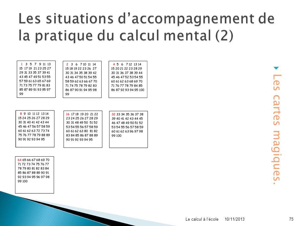 Les situations d'accompagnement de la pratique du calcul mental (2)