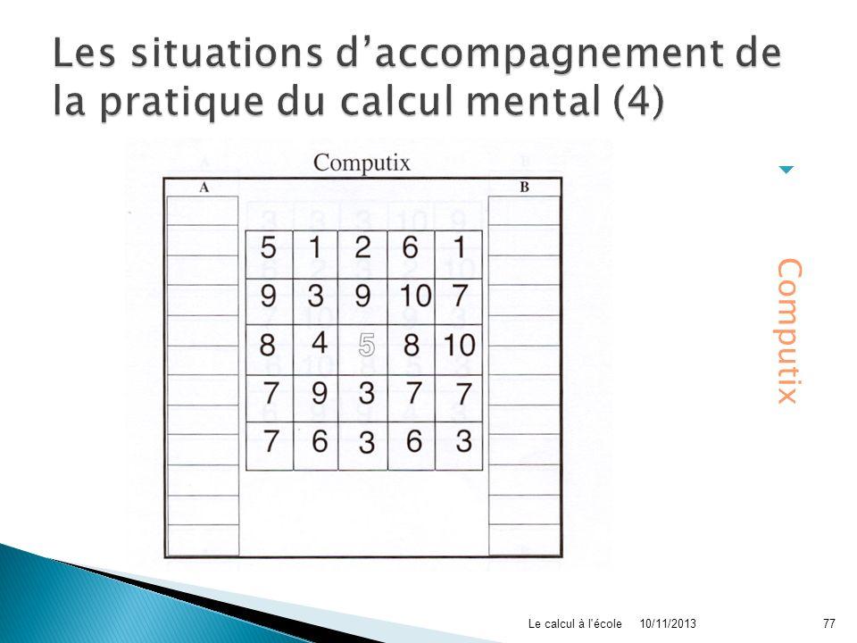 Les situations d'accompagnement de la pratique du calcul mental (4)