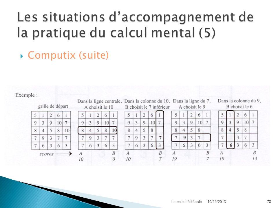 Les situations d'accompagnement de la pratique du calcul mental (5)