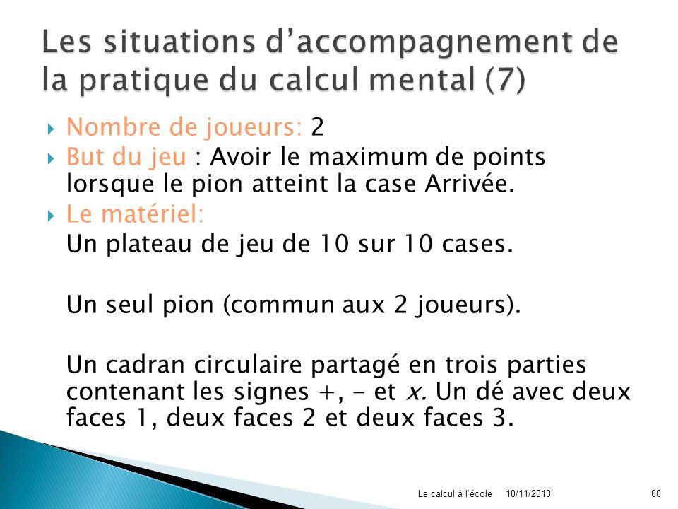 Les situations d'accompagnement de la pratique du calcul mental (7)