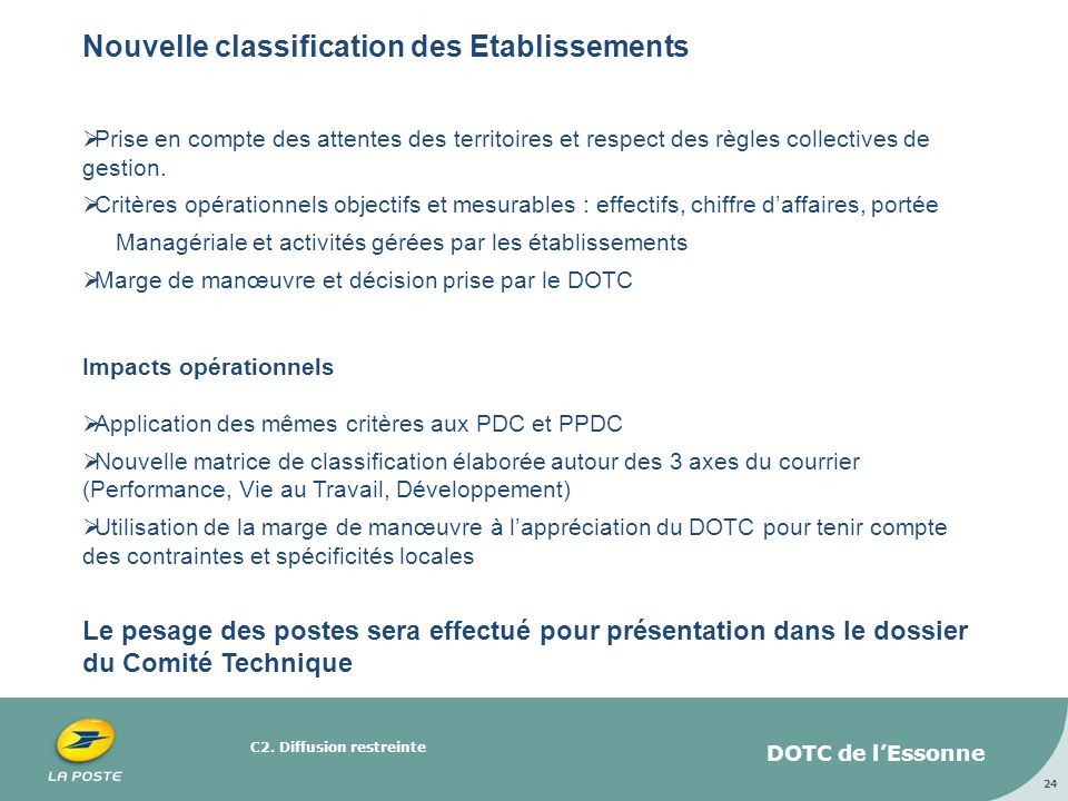 Nouvelle classification des Etablissements