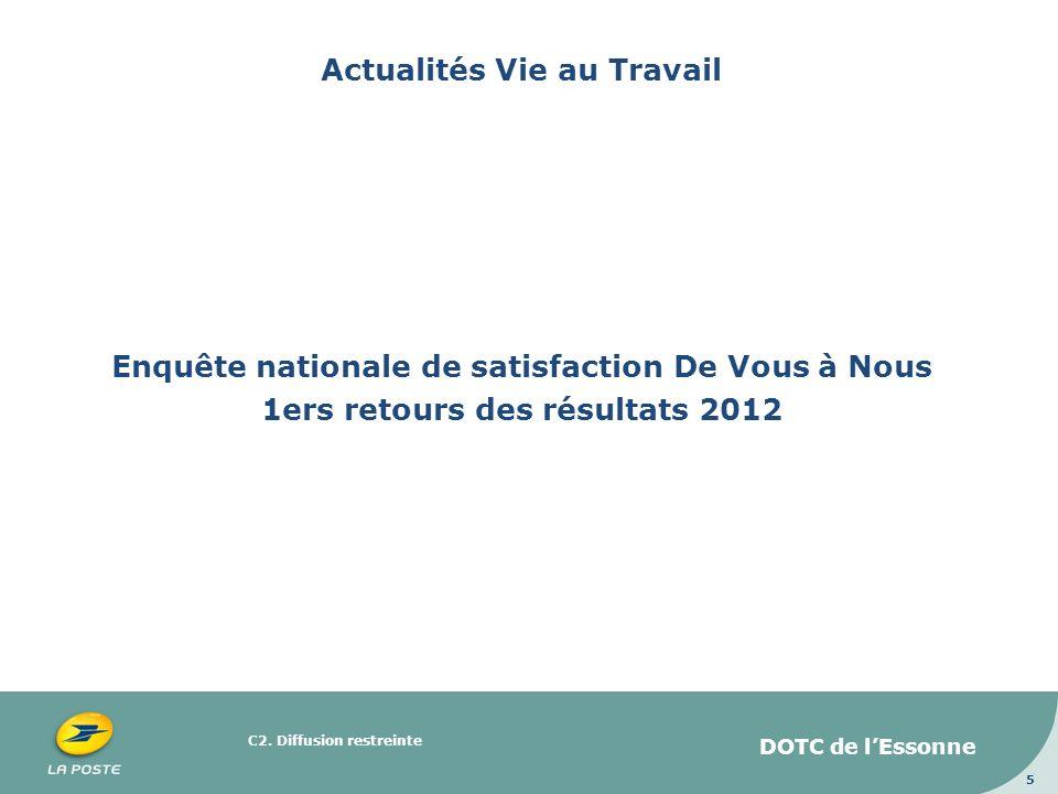Actualités Vie au Travail Enquête nationale de satisfaction De Vous à Nous 1ers retours des résultats 2012