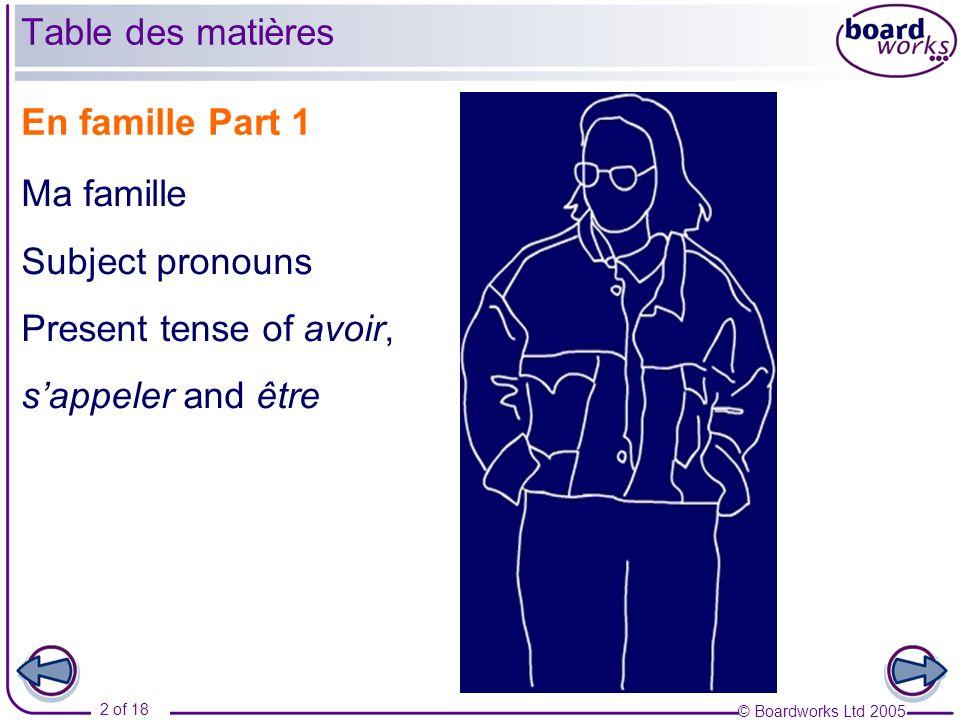 Table des matières En famille Part 1 Ma famille Subject pronouns