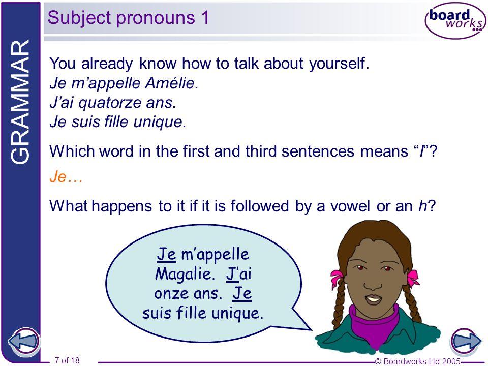 Je m'appelle Magalie. J'ai onze ans. Je suis fille unique.
