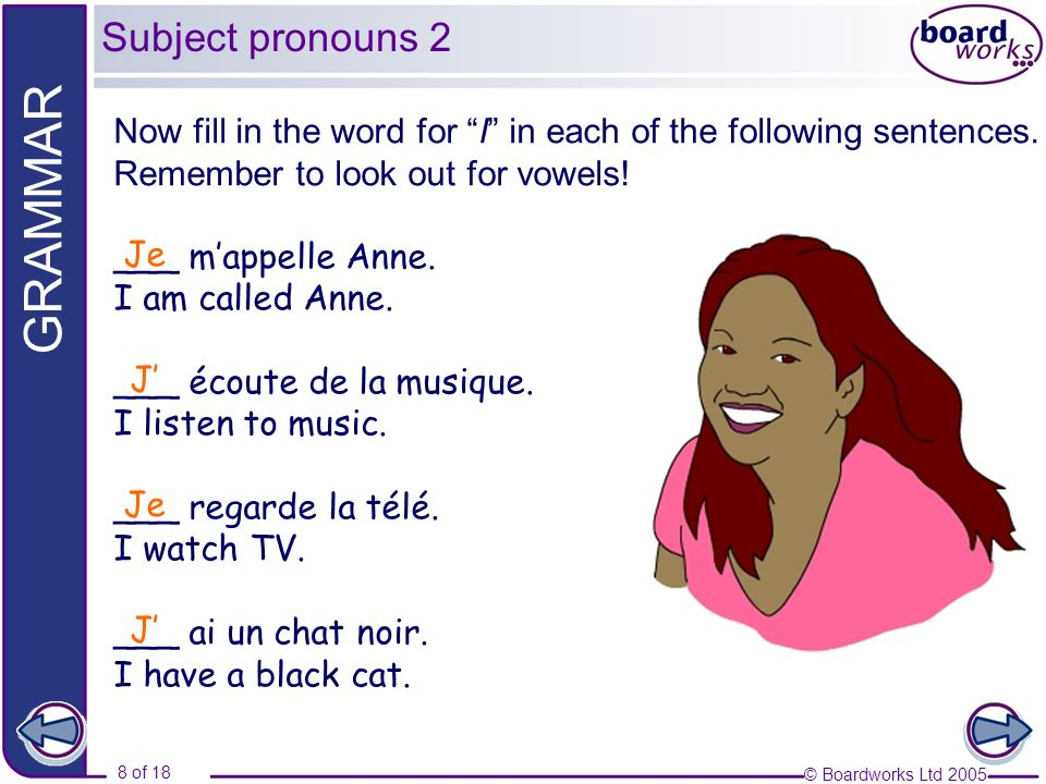 Subject pronouns 2 Now fill in the word for I in each of the following sentences. Remember to look out for vowels!