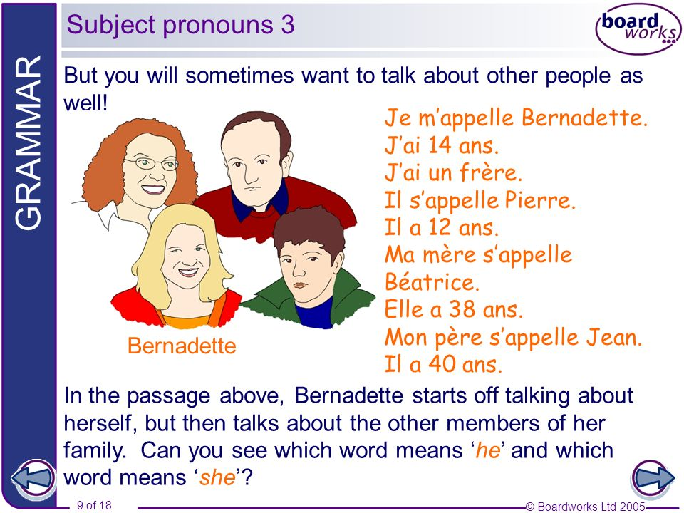 Subject pronouns 3 But you will sometimes want to talk about other people as well! Bernadette. Je m'appelle Bernadette.