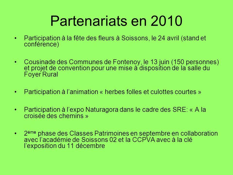Partenariats en 2010 Participation à la fête des fleurs à Soissons, le 24 avril (stand et conférence)