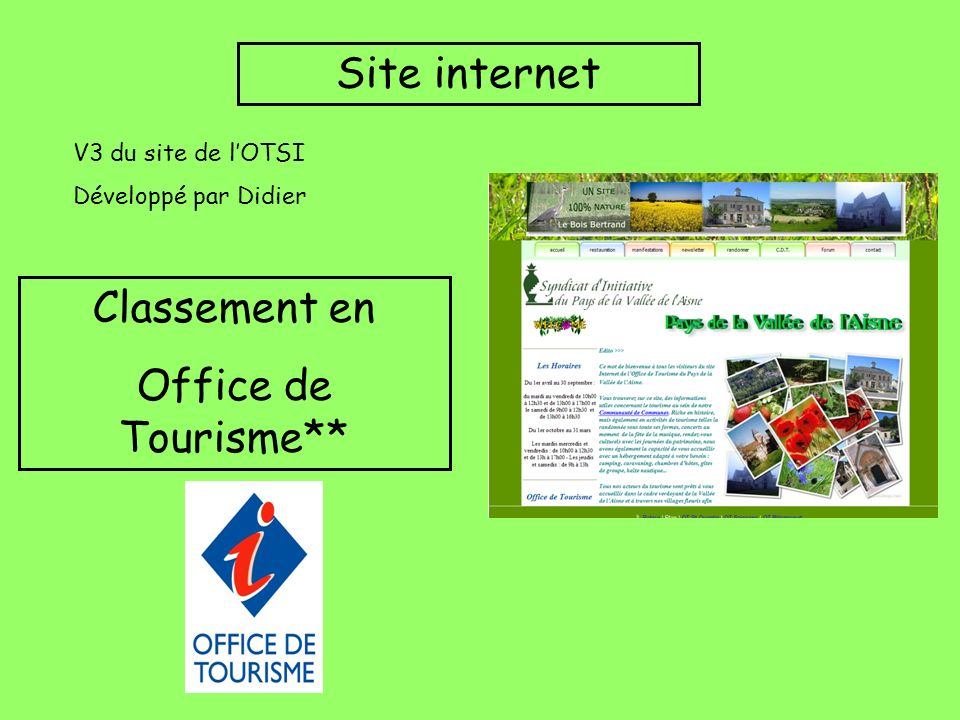 Site internet Classement en Office de Tourisme** V3 du site de l'OTSI