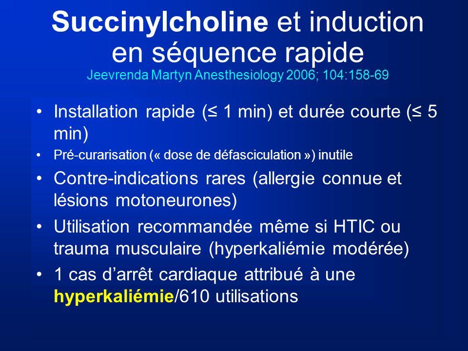 Succinylcholine et induction en séquence rapide Jeevrenda Martyn Anesthesiology 2006; 104:158-69