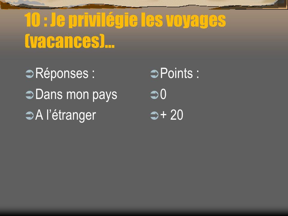 10 : Je privilégie les voyages (vacances)…
