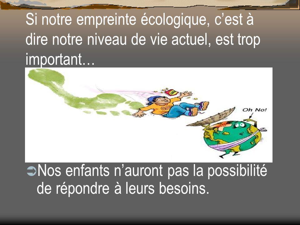 Si notre empreinte écologique, c'est à dire notre niveau de vie actuel, est trop important…