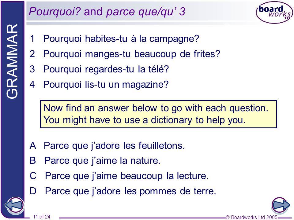 Pourquoi and parce que/qu' 3