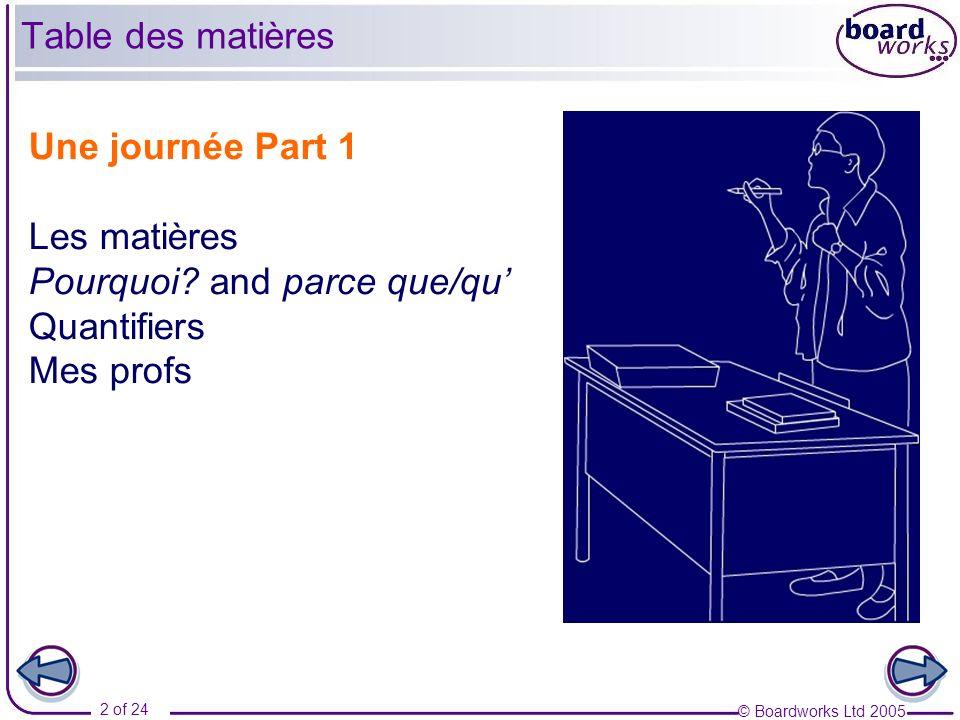 Pourquoi and parce que/qu' Quantifiers Mes profs